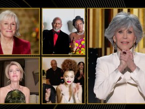 Jane Fonda accepts the Cecil B. DeMille Award in this handout screen grab from the 78th Annual Golden Globe Awards in Beverly Hills, Calif., Feb. 28, 2021.