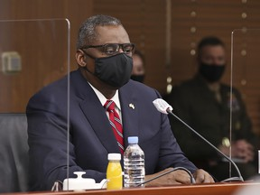 U.S. Secretary of Defense Lloyd Austin attends a meeting with South Korean Minister of Defense Suh Wook at the Ministry of National Defense on March 17, 2021 in Seoul, South Korea.