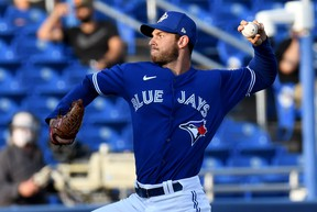 Blue Jays starting pitcher Steven Matz delivers during the first inning against the Detroit Tigers during spring training action at TD Ballpark in Dunedin, Fla. on Thursday, March 25, 2021.