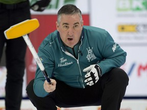 Team Wild Card 3 skip Wayne Middaugh watches as his front end bring the stone into the house during his team's game against Northern Ontario at the 2021 Tim Hortons Brier on March 11, 2021.