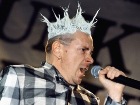 Picture dated 23 June 1996 of John Lydon, lead singer of the Sex Pistols, on stage at Finsbury Park, London, at the start of the reformed band's Filthy Lucre tour.