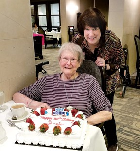 Sandy Cooper and her mom Bernice, Cooper, 86, a resident of Amica Thornhill who is once again confined to her room at her retirement home during meals despite having been vaccinated for COVID-19.