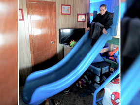 A man was arrested for allegedly stealing a playground slide and attaching it on a kid's bunk bed.