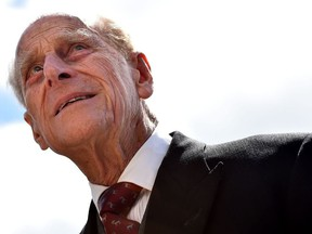 In this file photo taken on June 6, 2015, Britain's Prince Philip, Duke of Edinburgh arrives ahead of the racing on the second day of the Epsom Derby Festival in Surrey, southern England.