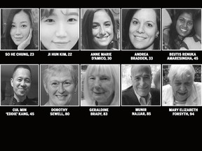 The 10 people killed in the April 23, 2018 Toronto van attack.