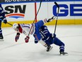 Toronto Maple Leafs forward John Tavares  and Montreal Canadiens forward Josh Anderson collide during a game earlier this season.