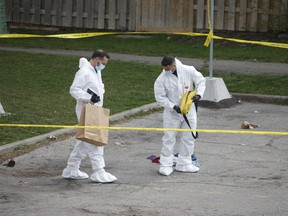 Peel Regional Police investigate a homicide at a townhouse complex at 7475 Goreway Dr. in Mississauga.