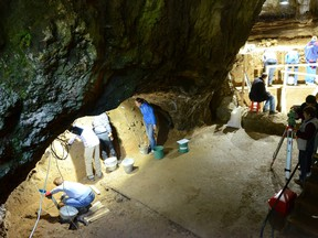 A view of excavations at Bacho Kiro Cave in Bulgaria, where the remains of anatomically modern humans (Homo sapiens) who lived approximately 45,000 years ago were found, is seen in this undated handout photograph.