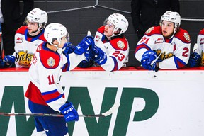 Winger Dylan Guenther (11) has been able to get games under his belt with the Edmonton Oil Kings this season, which can only help his draft ranking. DEREK LEUNG/GETTY IMAGES