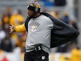 Head coach Mike Tomlin of the Pittsburgh Steelers is seen on the sidelines during a game against the Miami Dolphins at Heinz Field on January 8, 2017 in Pittsburgh.
