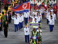 This file photo taken Aug. 5, 2016, shows North Korea's delegation during the opening ceremony of the Rio 2016 Olympic Games at the Maracana stadium in Rio de Janeiro.