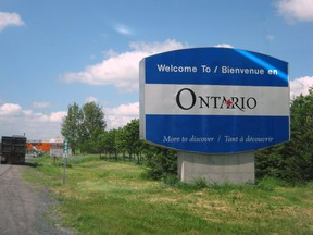 The Welcome to Ontario sign on Highway 401 is pictured in this undated file photo.