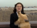 Russian reporter Nadezhda Serezhkina had her microphone stolen from her by a dog during a live hit.