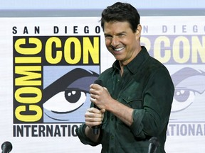 """Tom Cruise speaks at the """"Top Gun: Maverick"""" panel during 2019 Comic-Con International at San Diego Convention Center on July 18, 2019 in San Diego, Calif."""