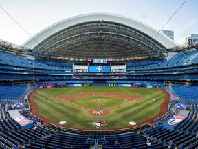 The Blue Jays play an intrasquad game in an empty Rogers Centre on July 9, 2020 in Toronto.