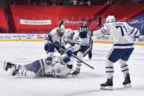 The additions of TJ Brodie, celebrating his game-tying goal on Saturday, Zach Bogosian (22), Nick Foligno and others can't be assessed until after tonight's series-deciding tilt against the Habs.