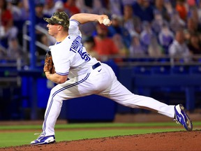 Blue Jays' Trent Thornton pitches during a game against the Philadelphia Phillies at TD Ballpark on Friday night.
