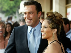 Jennifer Lopez and actor Ben Affleck attend the premiere of Gigli at the Mann National Theatre July 27, 2003 in Westwood, Calif.