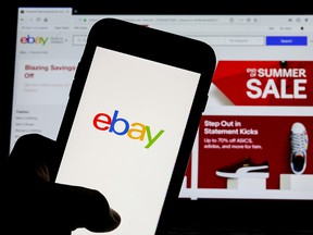 The eBay logo is pictured on a phone screen in this photo illustration in New York, July 23, 2019.