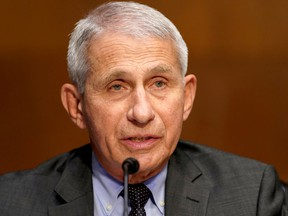 Dr. Anthony Fauci, director of the National Institute of Allergy and Infectious Diseases, gives an opening statement during a Senate Health, Education, Labor and Pensions Committee hearing to discuss the on-going federal response to COVID-19, at the U.S. Capitol in Washington, D.C., May 11, 2021.