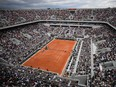 In this file photo taken on May 26, 2019 shows a general view of the Philippe Chatrier court, on day 1 of the French Open in Paris.