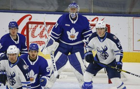 Toronto Marlies goalie Frederik Andersen  G (31) looks through traffic on a penalty kill during first period action in Toronto on Thursday May 6, 2021. Jack Boland/Toronto Sun/Postmedia Network