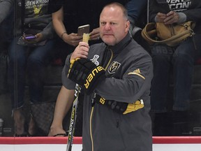 Gerard Gallant of the Vegas Golden Knights looks on during the team's practice on May 23, 2018 in Las Vegas.