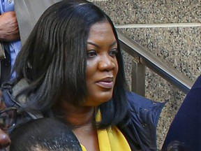 Tova Noel, one of the correctional officers charged with falsifying records on the night Jeffrey Epstein died, leaves court on November 25, 2019 in New York City.