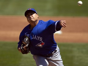 Blue Jays starter Hyun Jin Ryu delivers a pitch against the Athletics during the second inning at RingCentral Coliseum in Oakland, Thursday, May 6, 2021.