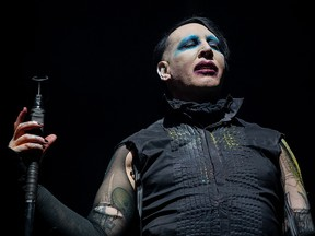 In this file photo taken on November 9, 2019 Marilyn Manson performs during the Astroworld Festival at NRG Stadium in Houston, Texas.