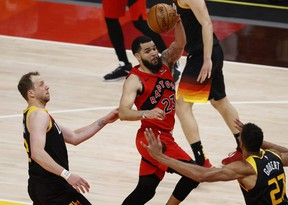 Raptors guard Fred VanVleet, who was impressive in the loss in Utah on Saturday night before sitting out Sunday to avoid doing further damage to a weakened hip, admits a clear goal for these final games is hard to pin down. USA TODAY Sports