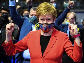 Scotland's First Minister and leader of the Scottish National Party (SNP), Nicola Sturgeon, reacts after being declared the winner of the Glasgow Southside seat in the Emirates Arena in Glasgow on May 7, 2021.