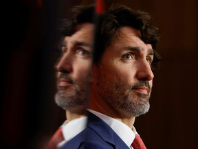 Canada's Prime Minister Justin Trudeau attends a news conference, as efforts continue to help slow the spread of the coronavirus disease (COVID-19), in Ottawa, Ontario, Canada May 25, 2021.