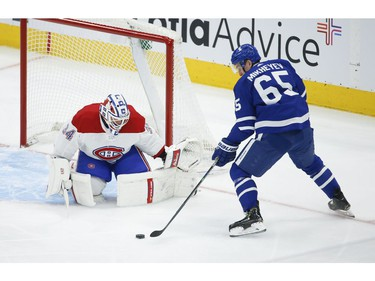 Toronto Maple Leafs Ilya Mikheyev RW (65) dangles the puck in front of Montreal Canadiens Jake Allen G (34) during second period action in Toronto on Thursday May 6, 2021. Jack Boland/Toronto Sun/Postmedia Network