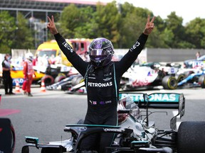 Formula One F1 - Spanish Grand Prix - Circuit de Barcelona-Catalunya, Barcelona, Spain - May 9, 2021 Mercedes' Lewis Hamilton celebrates after winning the race