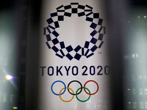 The logo of the Tokyo Olympic Games, at the Tokyo Metropolitan Government Office building in Tokyo, Japan, January 22, 2021.