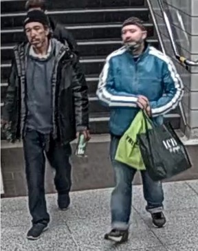 Investigators need help identifying these two men who are suspected of threatening an assaulting another man a Bathurst TTC station on Friday, May 7, 2021.