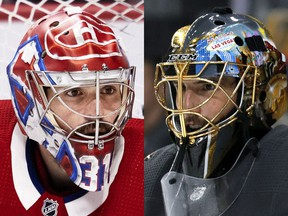 Canadiens' Carey Price, left, and Golden Knights' Marc-André Fleury.