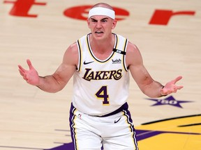 Alex Caruso of the Los Angeles Lakers reacts after being called for a foul during the second half of Game Four of the Western Conference first-round playoff series against the Phoenix Suns at Staples Center on May 30, 2021 in Los Angeles, California.
