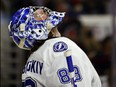 Andrei Vasilevskiy of the Tampa Bay Lightning reacts during the third period in Game 5 of their series against the Carolina Hurricanes at PNC Arena on June 08, 2021 in Raleigh, North Carolina.
