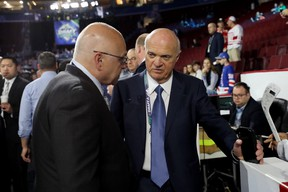 Barry Trotz (left) and Lou Lamoriello of the New Your Islanders attend the 2019 NHL draft.