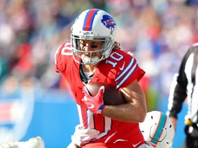 Bills wide receiver Cole Beasley runs with the ball against the Dolphins during NFL action at New Era Field in Orchard Park, N.Y., Oct. 20, 2019.