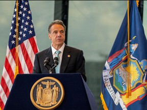 New York Gov. Andrew Cuomo speaks during a press conference at One World Trade Center on June 15, 2021 in New York City.