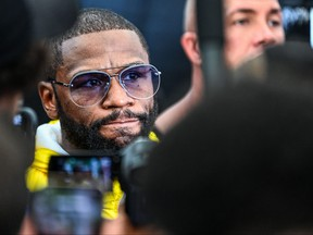 Former world welterweight king Floyd Mayweather speaks to the press during the media availability ahead of his June 6 exhibition boxing match against YouTube personality Logan Paul at Villa Casa Casuarina at the former Versace Mansion in Miami Beach, on June 3, 2021.