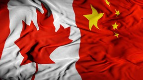 Canada - China Combined Flag | Canada and China Relations Concept | Canadian - Chinese Relationship Cover Background