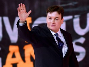 Actor Mike Myers waves to fans during the opening ceremony of the 2017 Invictus Games at Air Canada Centre on Sept. 23, 2017 in Toronto.