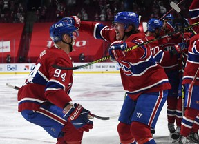 Canadiens forward Tyler Toffoli (right) celebrates with teammate Corey Perry after Montreal swept the Winnipeg Jets from the playoffs on Monday night. After knocking off Toronto and Montreal, the Canadiens seem built for the playoffs.