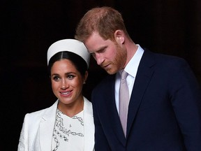 In this file photo taken March 11, 2019, Britain's Prince Harry and his wife Meghan leave after attending a Commonwealth Day Service at Westminster Abbey in central London.