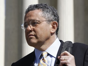 CNN legal analyst Jeffrey Toobin leaves the Supreme Court after it finished the day's arguments on the health care law signed by President Barack Obama in Washington, on March 27, 2012.