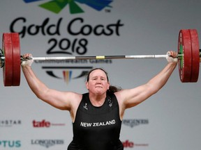 Laurel Hubbard of New Zealand competes in weightlifting at the Gold Coast 2018 Commonwealth Games, in Gold Coast, Australia, April 9, 2018.